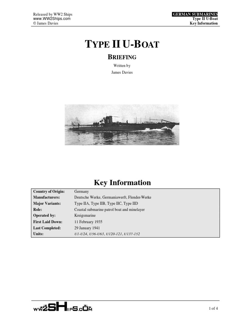 German U Boat Type Ii Anatomy U Boats Submarines