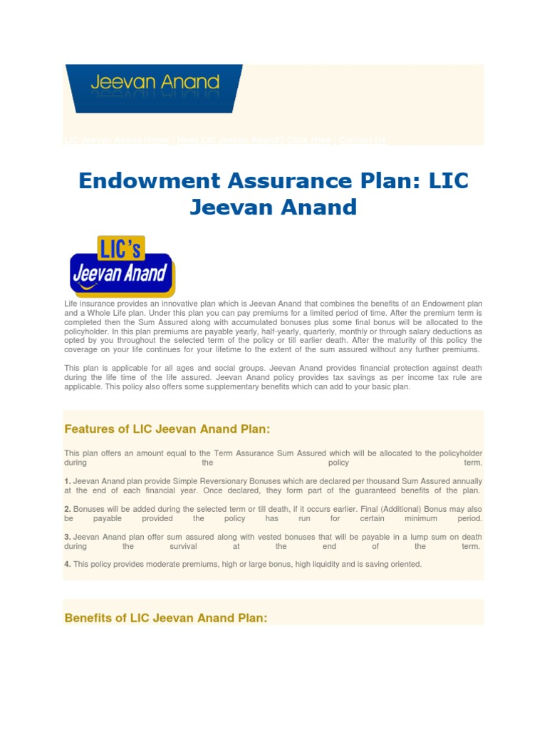 LIC Jeevan Anand Home | Life Insurance | Insurance