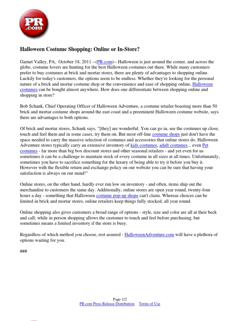 halloween costume shopping: online or in-store? | brick and mortar