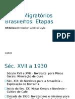 Fluxos Migratórios Brasileiros 1930 a 1970