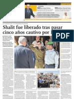 Shalit fue liberado tras pasar cinco años cautivo por Hamas