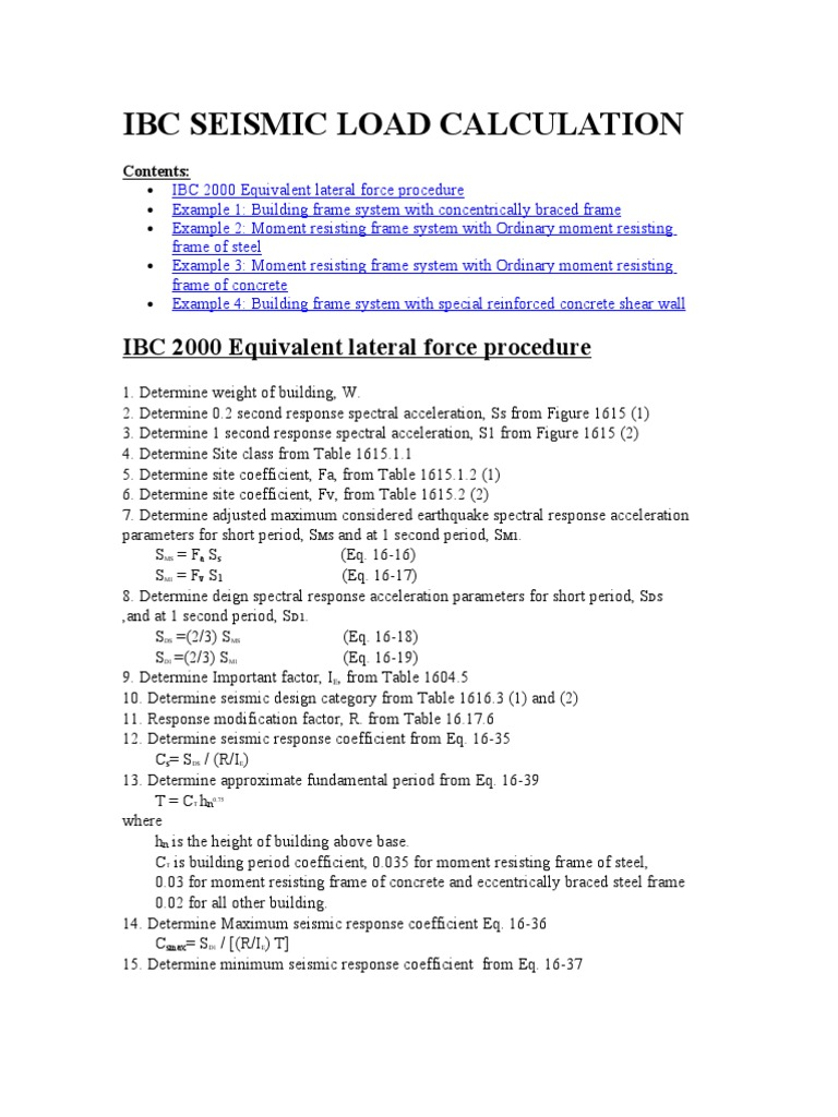 Ibc Seismic Load Calculation | Applied And Interdisciplinary Physics ...