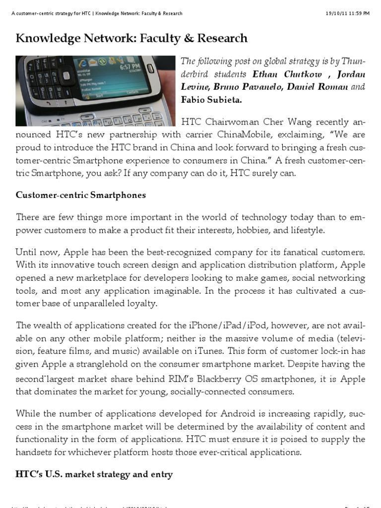 Tun Der Bird - A Customer-centric Strategy for HTC | Htc