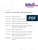 Programa de la Primera Plenaria Nacional de Kuña Pyrenda (Octubre 2011)