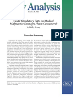 Mandatory Caps on Medical Malpractice Damages Harm Consumers?, Cato Policy Analysis No. 685