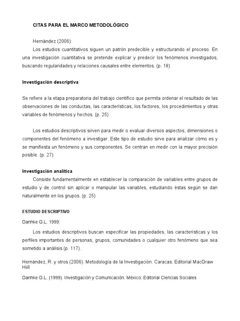CITAS PARA EL MARCO METODOLÓGICO