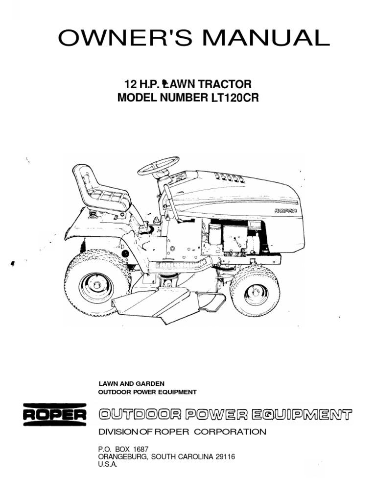 [SCHEMATICS_4NL]  ROPER12HPLAWNTRACTORLT120CROWNERSMANUAL   Tractor   Belt (Mechanical)   Roper Tractor Wiring Diagram      Scribd