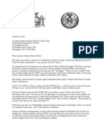 Letter to Assistant Attorney General Thomas E. Perez