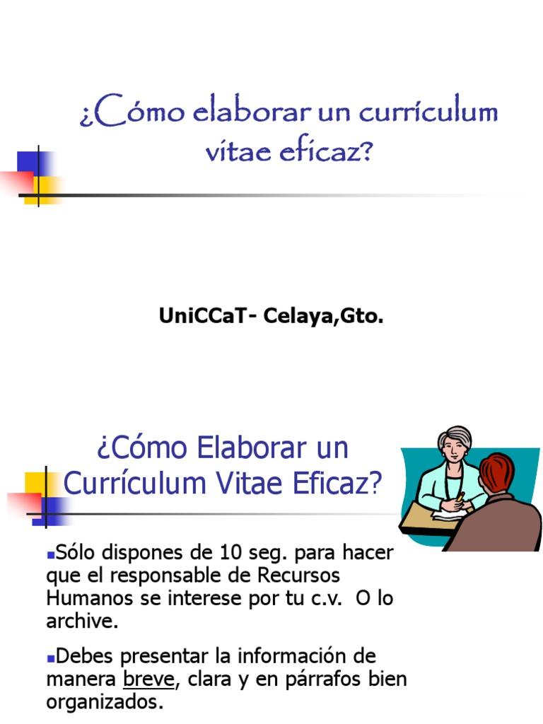 Cómo elaborar un Currículum Vitae Eficaz