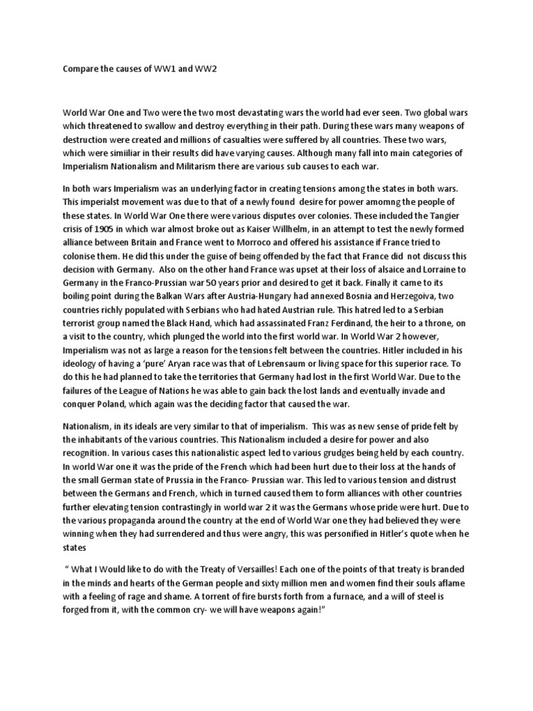 causes of the ww2 essay During the period previous to world war ii causes that led to world war ii included german attempt of dbq: causes of wwii essay sample get full essay.
