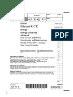 Edexcel A-Level BIO4 June 2007 QP