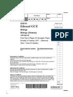 Edexcel A-LEVEL BIO6 January 2007 QP