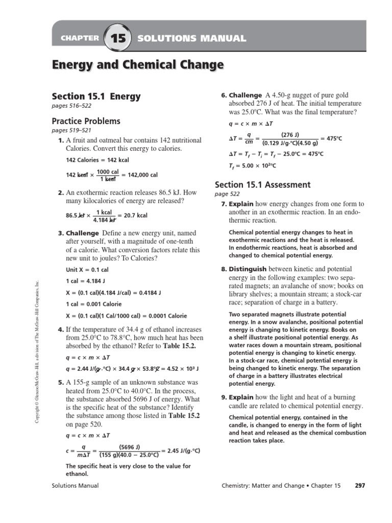 worksheet Reaction Rate Worksheet chapter 15 heat