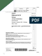 Edexcel A-LEVEL BIO2B January 2006 QP