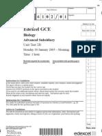 Edexcel A-LEVEL BIO2B January 2005 QP