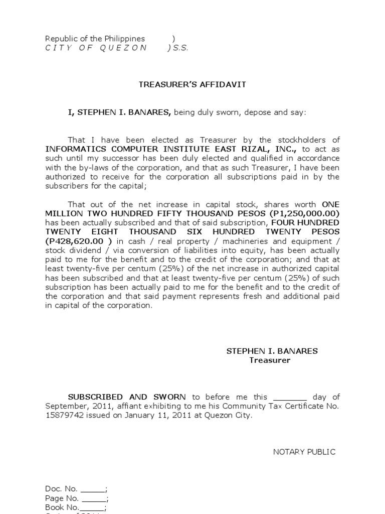 treasurer u0026 39 s affidavit