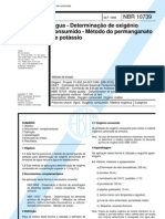 NBR 10739 -1989 - Agua - Determinacao de Oxigenio Consumido - Metodo Do Permanganato de Potassio