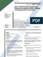 NBR 12614 - Aguas Determinacao Da Demanda Bioquimica de Oxigenio (DBO) - Metodo de Incuba