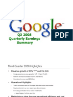 Google Q3 2008 Quarterly Earnings Summary