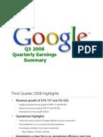 Google Q3 2008 Quarterly Earnings Summary