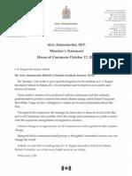 Atamanenko Member's Statement October 17, 2011