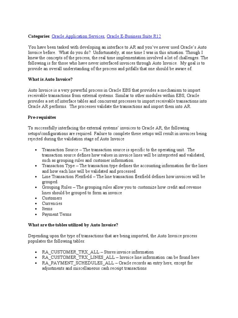 Auto Invoice | Invoice | Debits And Credits