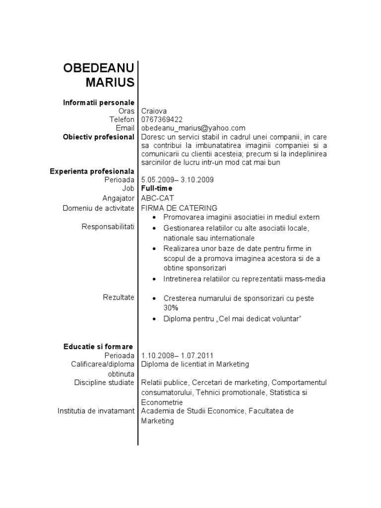 Cv absolvent modele cv absolvent yelopaper Images