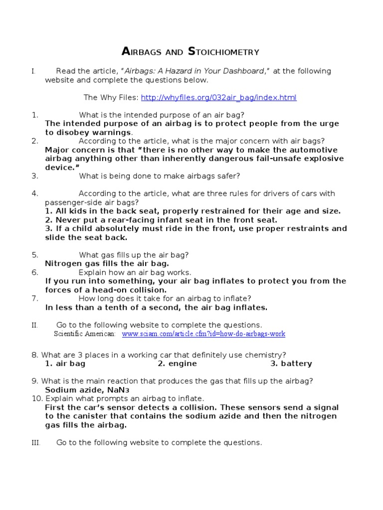 Airbags and Stoichiometry Answers Airbag – Stoichiometry Worksheet 3