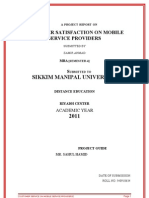 Mba-final - Project 2011- Customer Stisfaction on Mobile Service Providers by Zamir Smu Roll No. 540910634