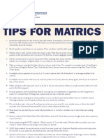 Tips for Matrics
