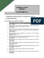 ODJ Bureau MPM 21 octobre 2011