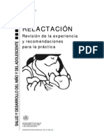 Relactación,revisión de la experiencia y recomendaciones para la práctica