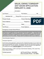 2008 talent show application