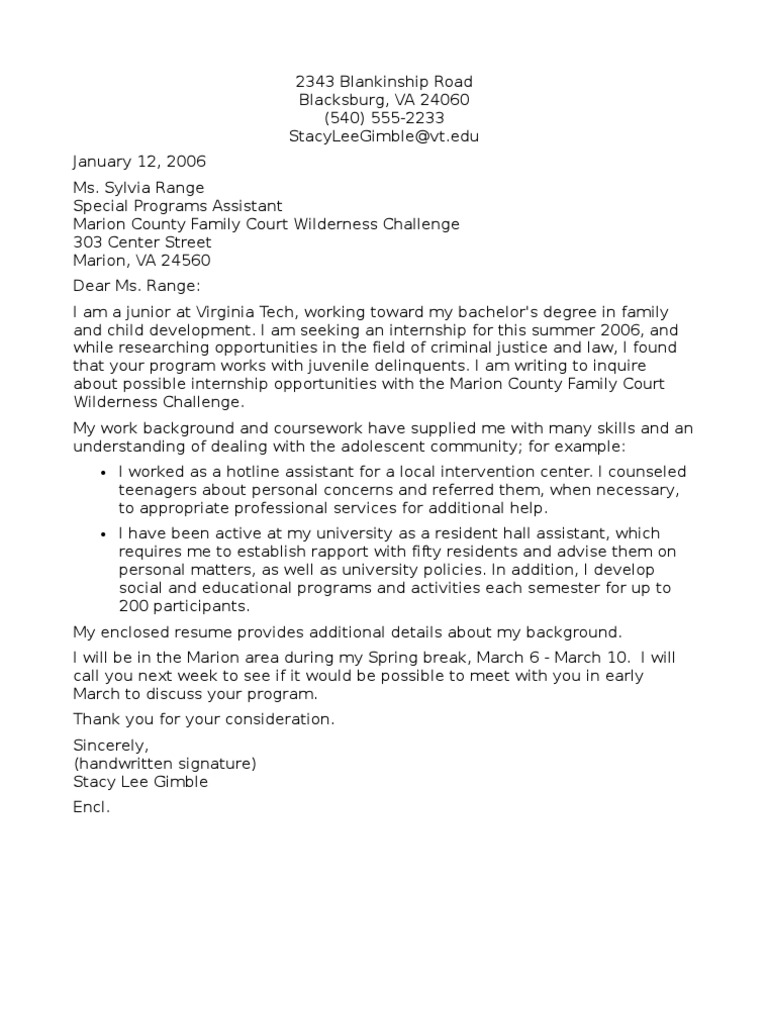 Letter of Inquiry About Internship Opportunities Hard Copy