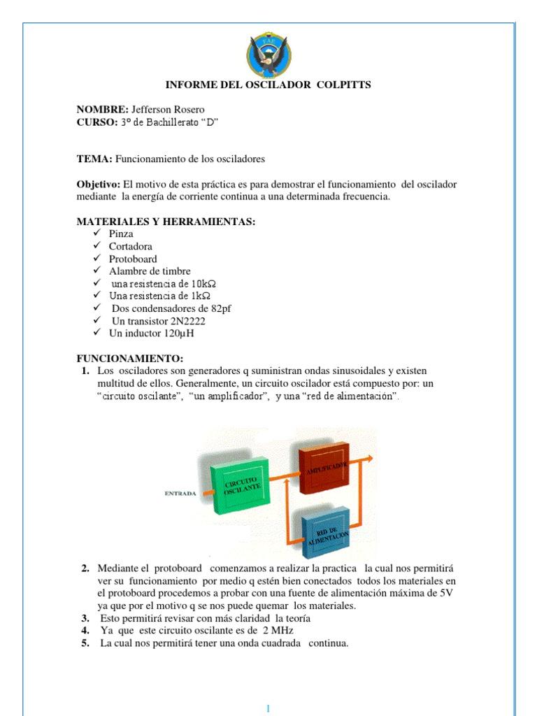 Circuito Oscilador : Informe del oscilador colpitts