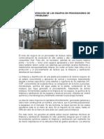 LIMPIEZA Y SANITIZACIÓN DE LOS EQUIPOS EN PROCESADORAS DE LECHES