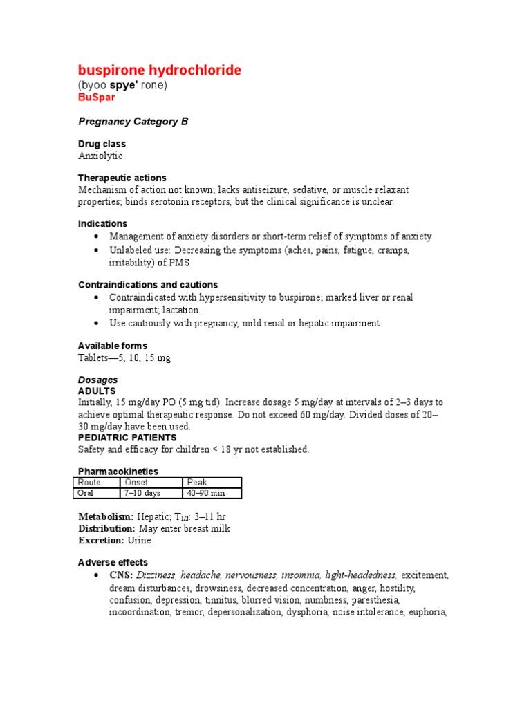 Buspirone Hydro Chloride   Pharmacology   Medicine