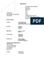 documents similar to biodata format for marriage matrimonial resume format