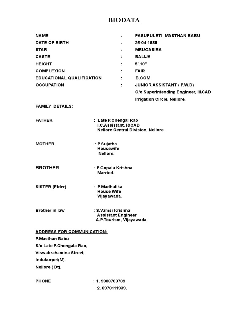 sample of biodata for marriage purpose