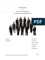 Role of Top Management on International Diversification