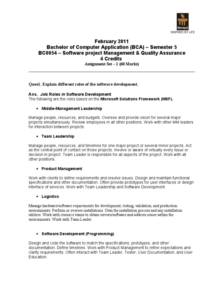 be203da56 SMU BCA 5th sem Software Project Management & Quality Assurance |  Project Management | Risk Management