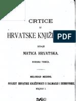 Milorad Medini - Crtice Iz Hrvatske Knjizevnosti - Sveska Treca - Knjiga I