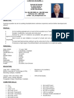 Contoh Full Resume In English 2 Microsoft Technology Engineering