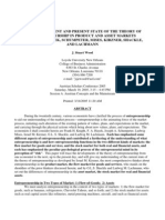 Development and Present State of the Theory of Entrepreneurship in Product and Asset Markets