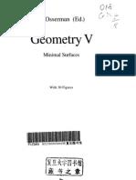 Geometry, vol.5 - Minimal surfaces (ed. Osserman) [EMS 90]