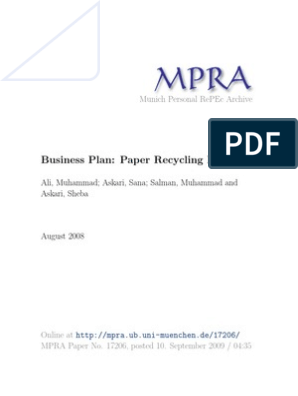 Business Plan, Paper Recycling Plant | Pulp (Paper) | Recycling