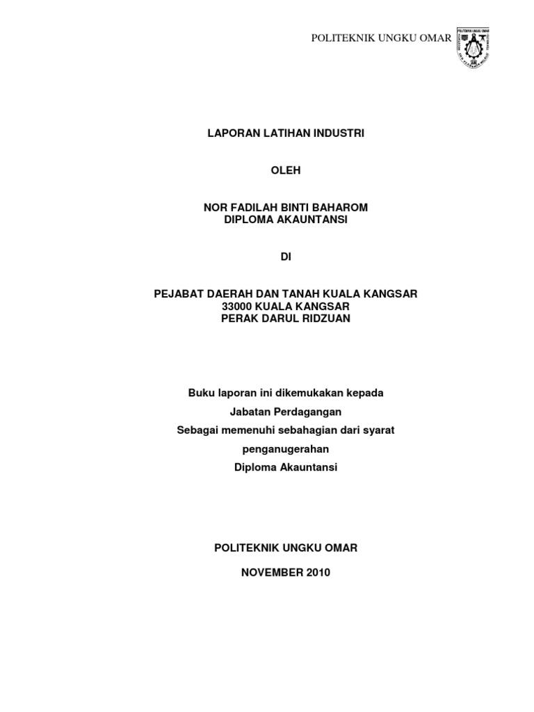 Contoh Laporan Akhir Latihan Industri Politeknik Ungku Omar