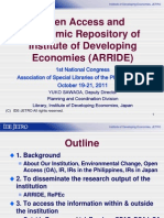 Open access and academic research repository at the Institute of Developing Economies (ARRIDE)