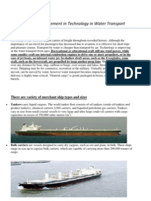 Advancement in Technology in Water Transport   Ship Transport   Ships