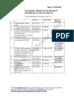 JNTU Hyderabad Revised Academic Calendars 2011